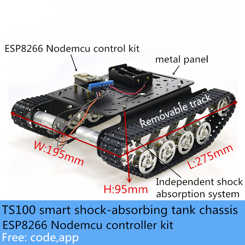 ESP8266 Control <font><b>TS100</b></font> Smart Shock-Absorbing <font><b>Tank</b></font> Chassis + Nodemcu Controll Kit High Torque DC Motor DIY For Arduino Education image