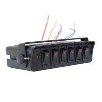 6 gang carro barco circuito marinho à prova d12 água 12 v 30amp automotivo fio de entrada led retroiluminado em fora abs rocker switch painel substituição   -