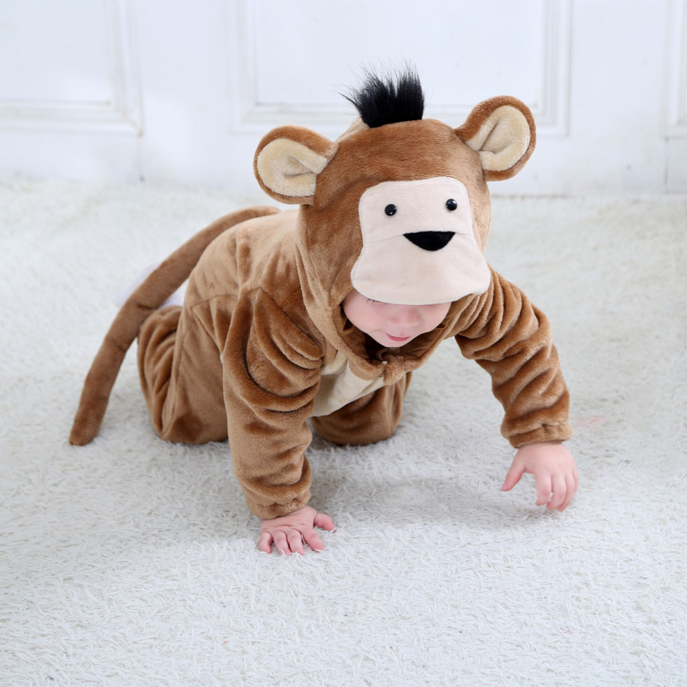 Umorden Baby Monkey Costume Kigurumi Cartoon Animal Rompers Infant Toddler Child Jumpsuit Onesie Flannel Halloween Fancy Dress