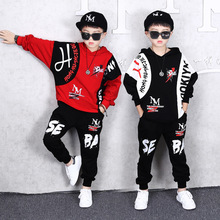 2019 Autumn New Fashion Boys Clothes Childrens Cool Hip-hop Suit Kids Pure Cotton Long Sleeve Hooded Spell Color Sweater+Pants