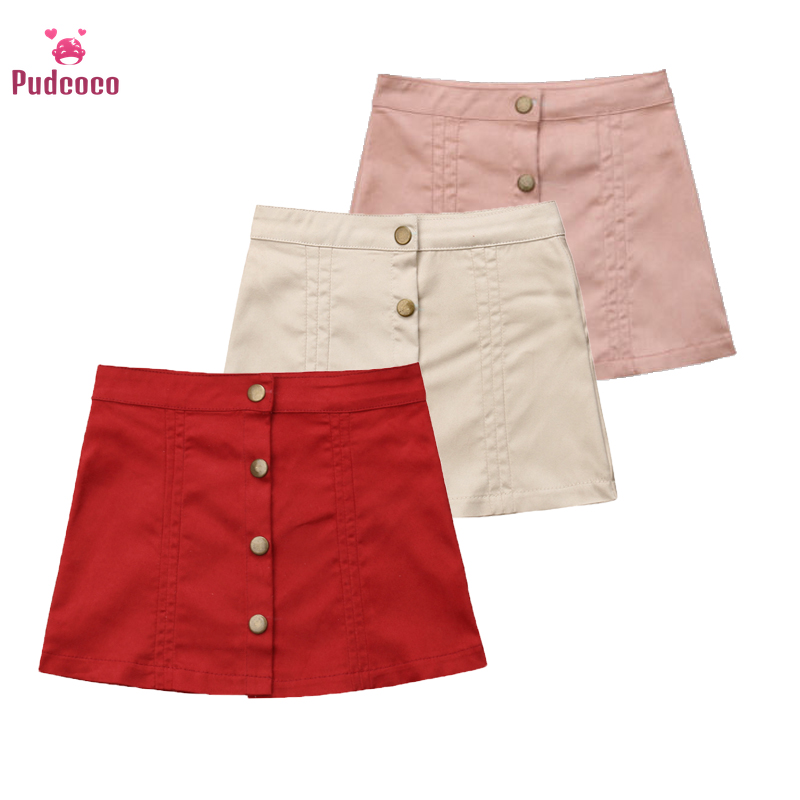 Pudcoco Toddler Baby Girls Skirt Clothes Winter Solid Button A Line Princess Party Mini Skirts Denim Outfits Clothes 6M-5Y