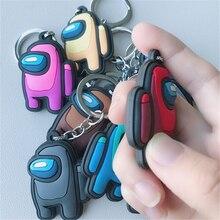Among Us PVC Keychain Toys Cute Cartoon Game Trust No One AmongUs Doll Bag Key Chains Keyring Pendant Children Xmas Gifts 2021