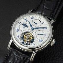 Multi funktion Männer Tourbillon Mechanische Uhr Kalender Mondphase Zifferblatt ST8007 bewegung Mens Tourbillon Armbanduhren 50m