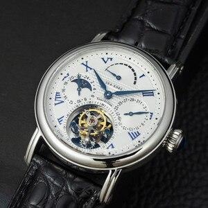 Image 1 - רב פונקציה גברים Tourbillon מכאני שעון לוח שנה Moonphase חיוג ST8007 תנועה Mens Tourbillon יד שעונים 50m