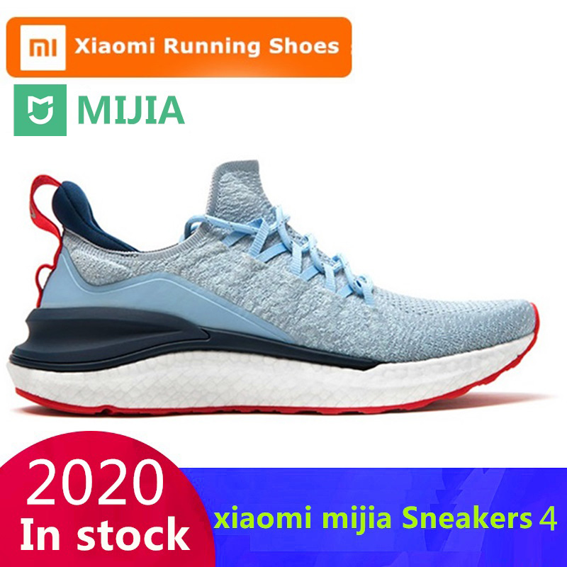 Original Xiaomi Mijia Sneakers 4 Men s Outdoor Sports  Uni-moulding 4D Fishbone Lock System Knitting Upper Men Running Shoes