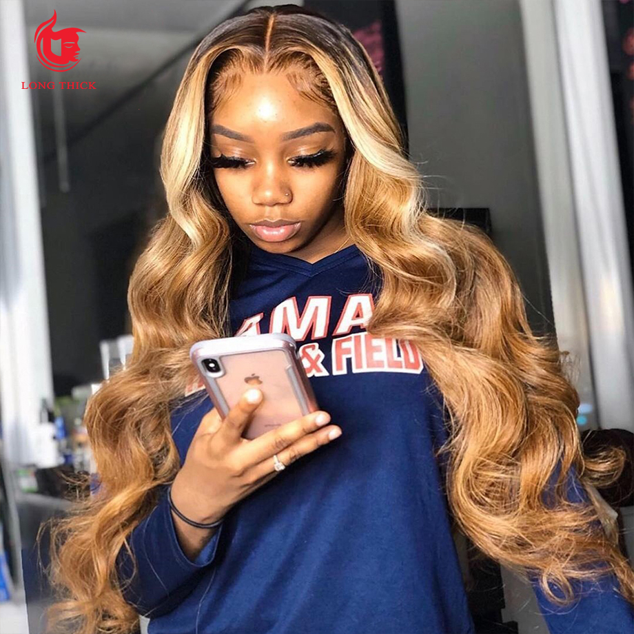 Body Wave Lace Front Wig Highlight Wig  Lace Frontal Wigs   T Part Blonde Lace Front Wig 1