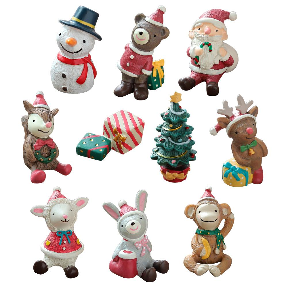 Decoration Cartoon Doll Mini Toys Xmas Figurines Miniature Santa Statue