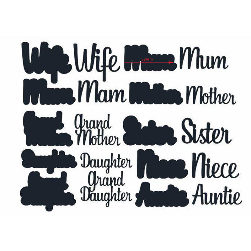 wife mum mother auntie daughtersister metal cutting dies stacking cut die mold for DIY Scrapbooking cards crafts mould new 2019