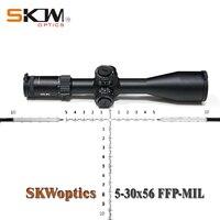SKWoptics 5 30x56FFP MIL A First Focal Plane ffp rifle scope 34MM scope rings Hunting Target reticle Heavy duty riflescope