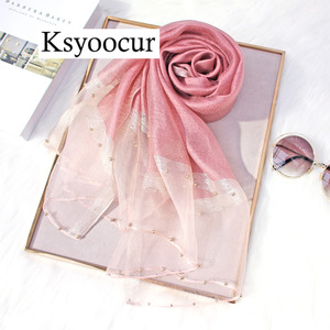 Image 4 - Size 180*90cm 2020 New Silk Scarves Beach Towel Scarf Female Four Seasons Shawls and Scarves Women Scarf Brand Ksyoocur E11