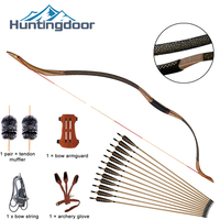 2020 Hot Huntingdoor Traditional Handmade Bow Longbow with True Feather Wood Arrows Hunting Recurve Archery Bow Set Accessories