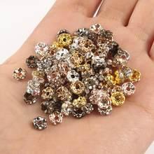 50 teile/los Metall Welle Spitze Rondelle Messing Strass Spacer Perlen Für DIY Schmuck Machen Armband Zubehör Liefert 4 6 8 10mm