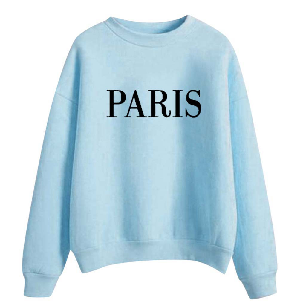 Feitong Letter Print Pullover Tops Autumn Coat Women's Fashion Winter Printing High Collar Long Sleeve Plus Sweatshirt