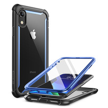 For iphone XR Case 6.1 inch Original i Blason Ares Series Full Body Rugged Clear Bumper Case with Built in Screen Protector