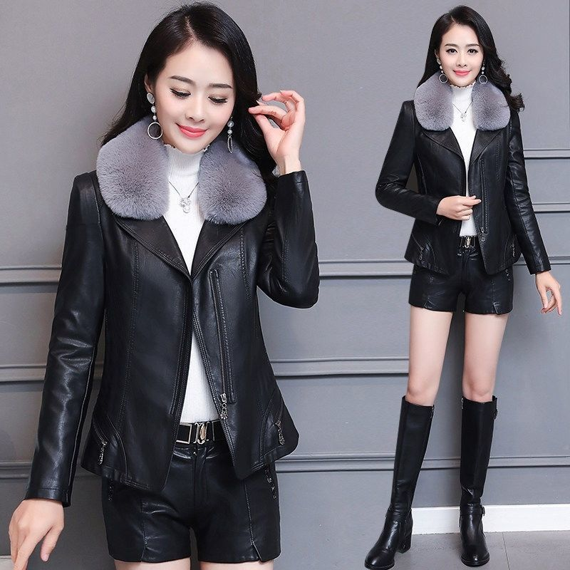 Women's   Leather   Jackets Plus Cotton Thick Warm   Leather   Jacket Winter Coat For Women 2019 New Big Fur Collar False   Leather   Coat