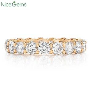 Image 3 - NiceGems 14K 585 or blanc Moissnite éternité bande 3mm/3.5mm/4mm/5mm rond brillant moissanitebague de mariage alliance