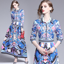 Polyester Boho Print Dress Women Autumn New Casual Long Sleeve Korean Blue Fashion Vintage Floral Elegant Party Dresses Vestidos