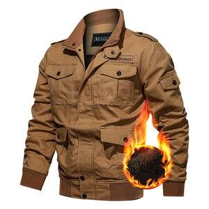 Image 1 - Chaqueta militar de invierno para hombre, chaqueta bomber gruesa de algodón, chaqueta informal de piloto de la fuerza aérea, ropa, forro de lana de talla grande, novedad de 2019