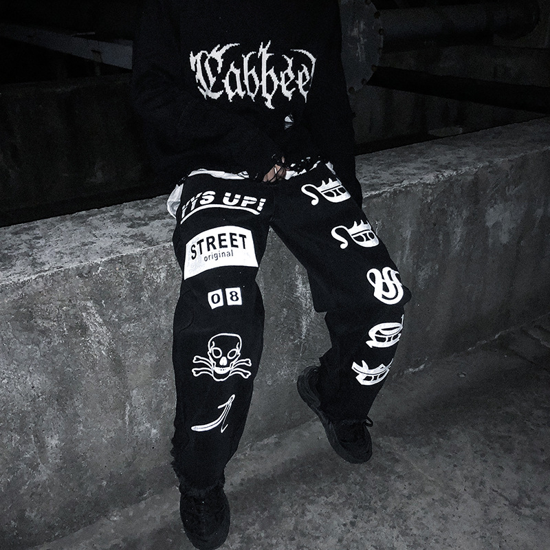 UNCLEDONJM Fashion Funny Graffiti Reflective Jeans Mens 2019 Harajuku Hip Hop Trousers Casual Joggers Male Harem Streetwear Z04