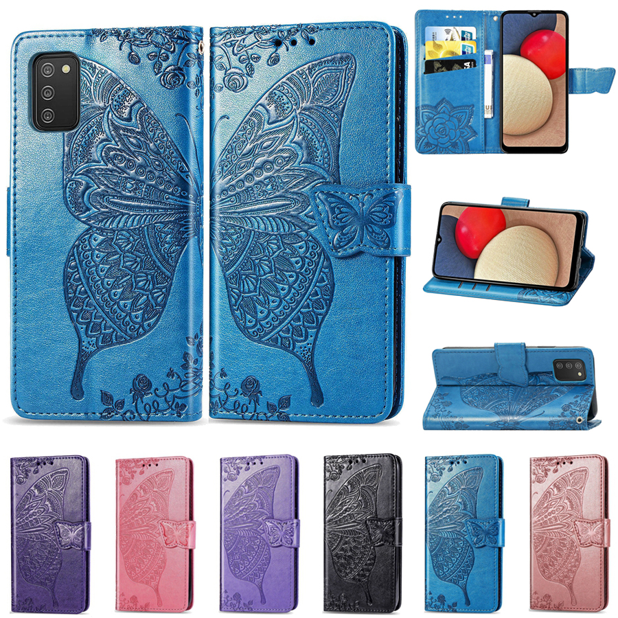 Leather Butterfly Embossing Wallet Flip Case For Samsung Galaxy A02 A02S A03S A11 A12 A21S A22 A31 A32 A41 A50 A51 A52 A71 A72