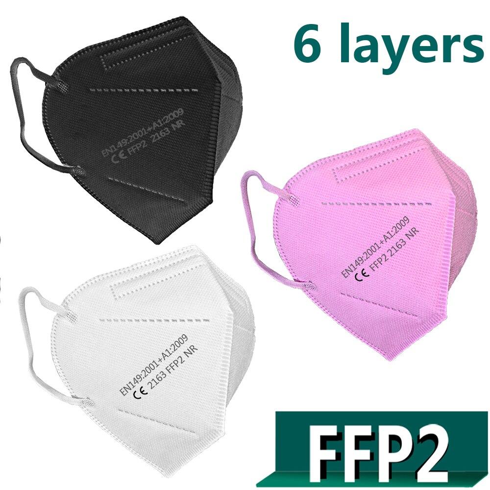 10 pièces-100 pièces FFP2 masques faciaux masques faciaux 6 couches CE Maske respirateur filtre Maske respirant protecteur bouche masque réutilisable