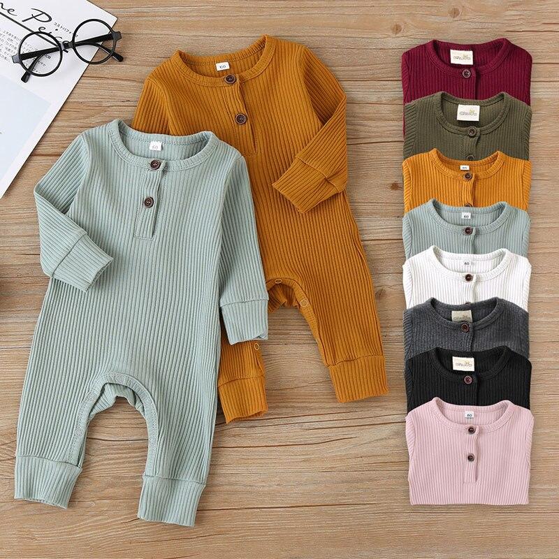 קיץ יוניסקס יילוד תינוק בגדים מוצק צבע תינוק Rompers כותנה סרוג ארוך שרוול פעוט סרבל תינוקות בגדי 3-18M