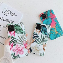 For iPhone 11 Pro Max Flowers Case X XR XS 7 8 Plus Floral Luxury Art Banana Leaf Back Cover Soft TPU Coque
