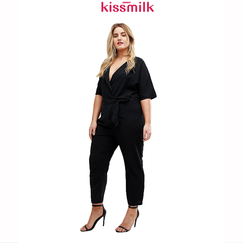 Kissmilk Europe And The United States Simple Large Size Black Slim Sexy V-neck Lapels Short-sleeved One-piece Trousers Jumpsuit