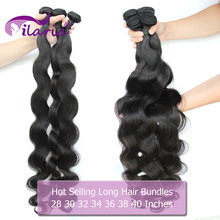 ILARIA Body Wave Brazilian Hair Weave Bundels 100% Human Hair Bundels 3 4 Bundel Remy 30 32 34 36 38 40 inch bundels(China)