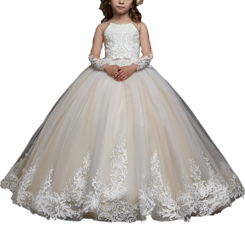 White Lace Flower Girl Dresses Primera Comunion Wedding Party Little Bride Dress Kids Ball Gown Long Sleeve Girls Pageant Dress