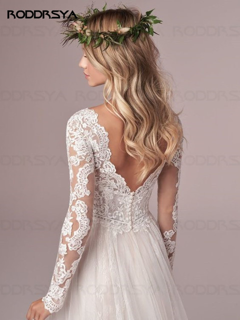 A Line Long Sleeve Wedding Dress Lace Bridal Dresses 2020 Tulle Ivory Vestido De Novia Open Back свадебное платье Plus Size 5