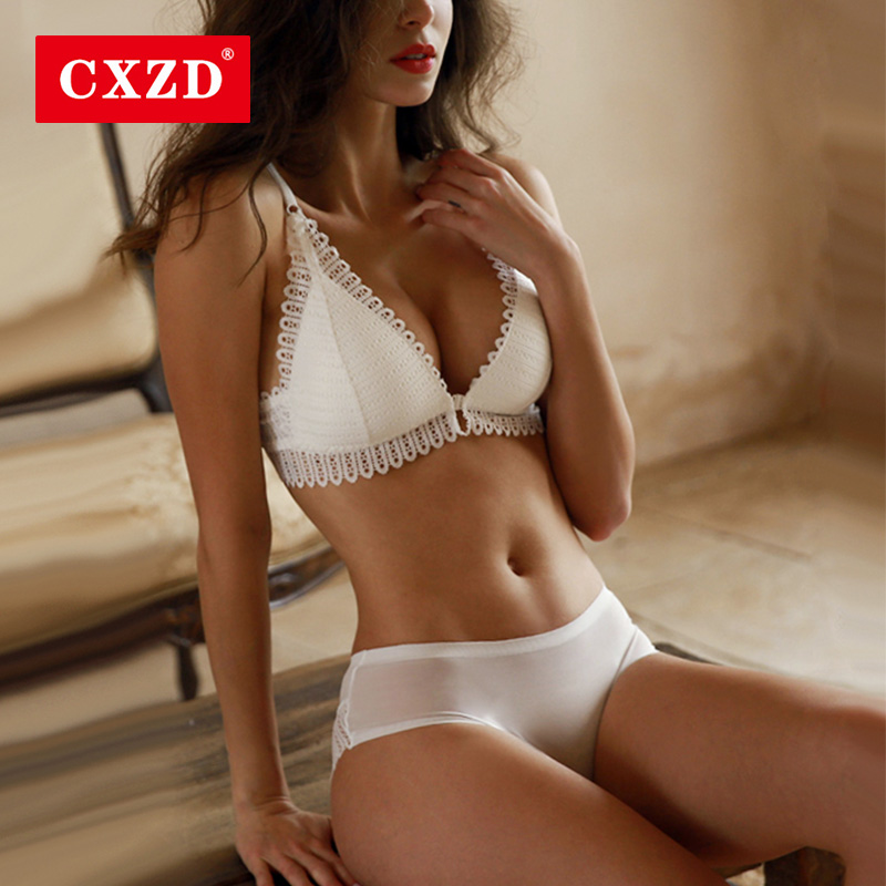 CXZD Sexy Lace Bra Set Backless Bra And Panty Set Front Closure Seamless Push Up Briefs Underwear Women Wireless Lingerie Sets