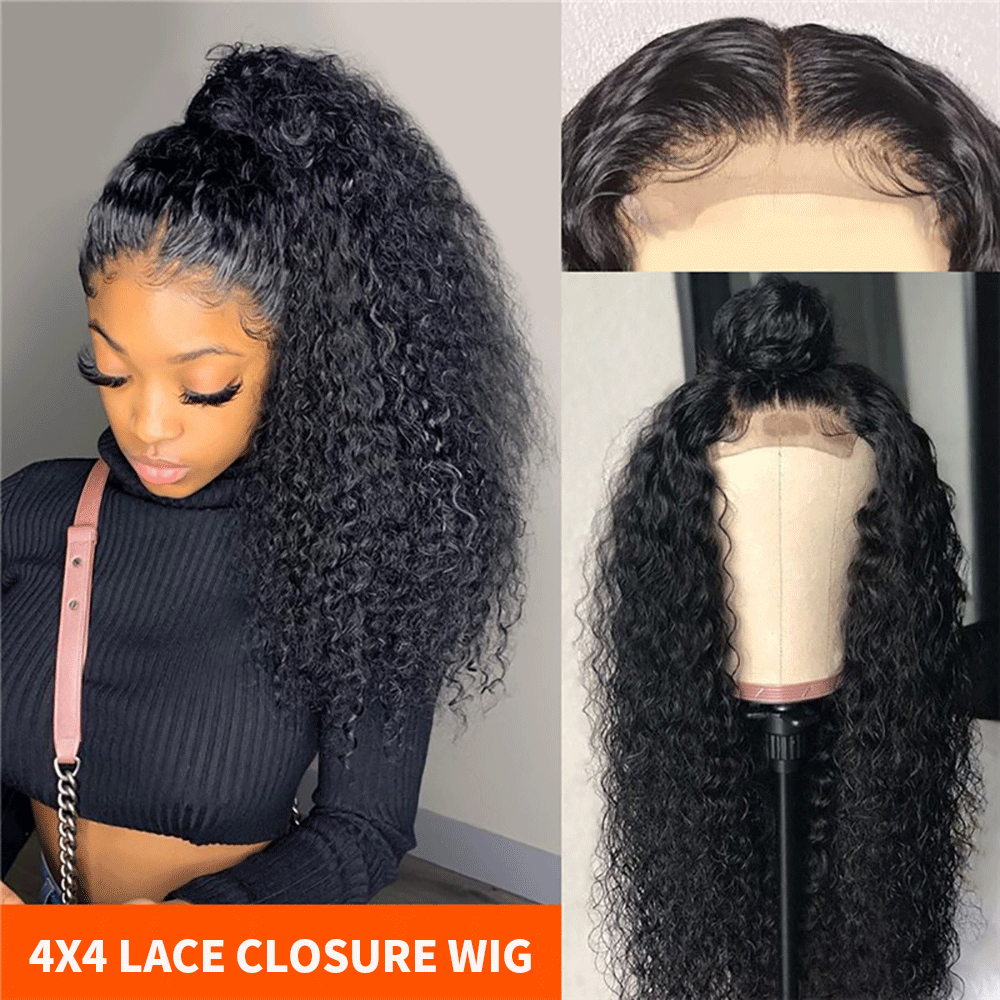 4X4 Kinky Curly Hair Lace Closure Wig Malaysian Hair Lace Wig Remy Human Hair Wig Density 180% 10-30 Inches Ali Lumina