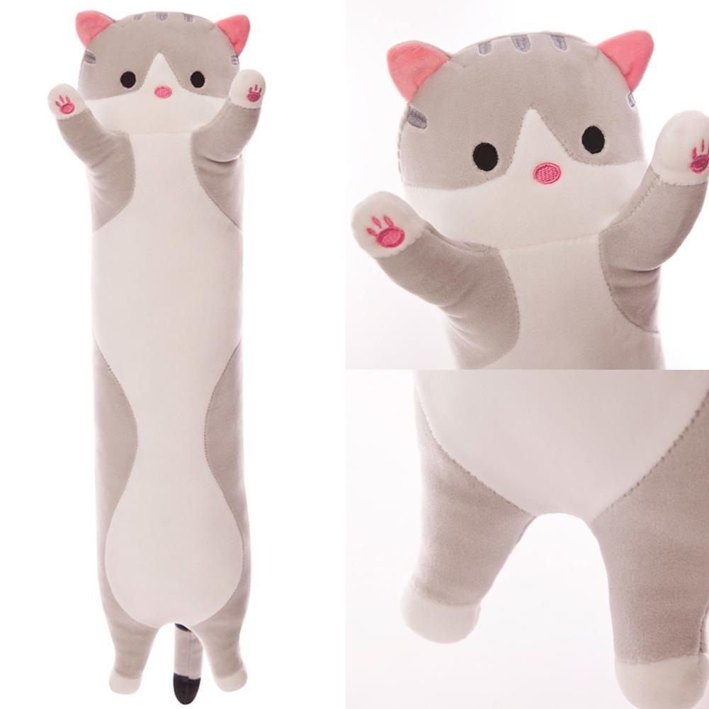 50cm Long Cute Creative Cat Plush Pillow Toy Soft Stuffed Pillow Doll Cushion Sleeping Kitten Pillow Sleeping Hug Lazy Gift V6L1
