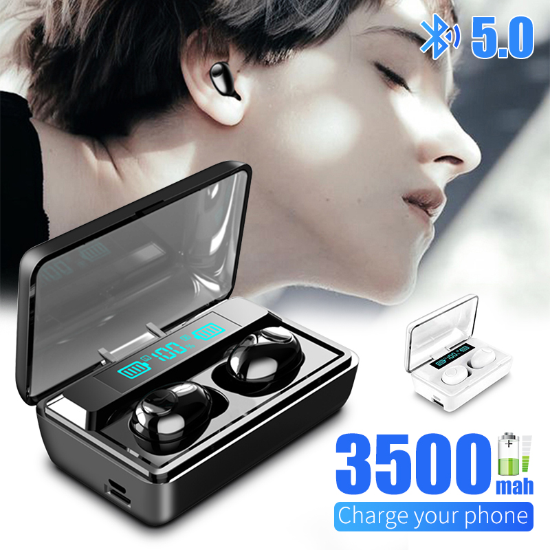 <font><b>T8</b></font> <font><b>TWS</b></font> Wireless Bluetooth 5.0 Earphone Noise Cancelling Headphone Wireless Stereo Gaming Headsets LED Display 3500mAh Power Bank image