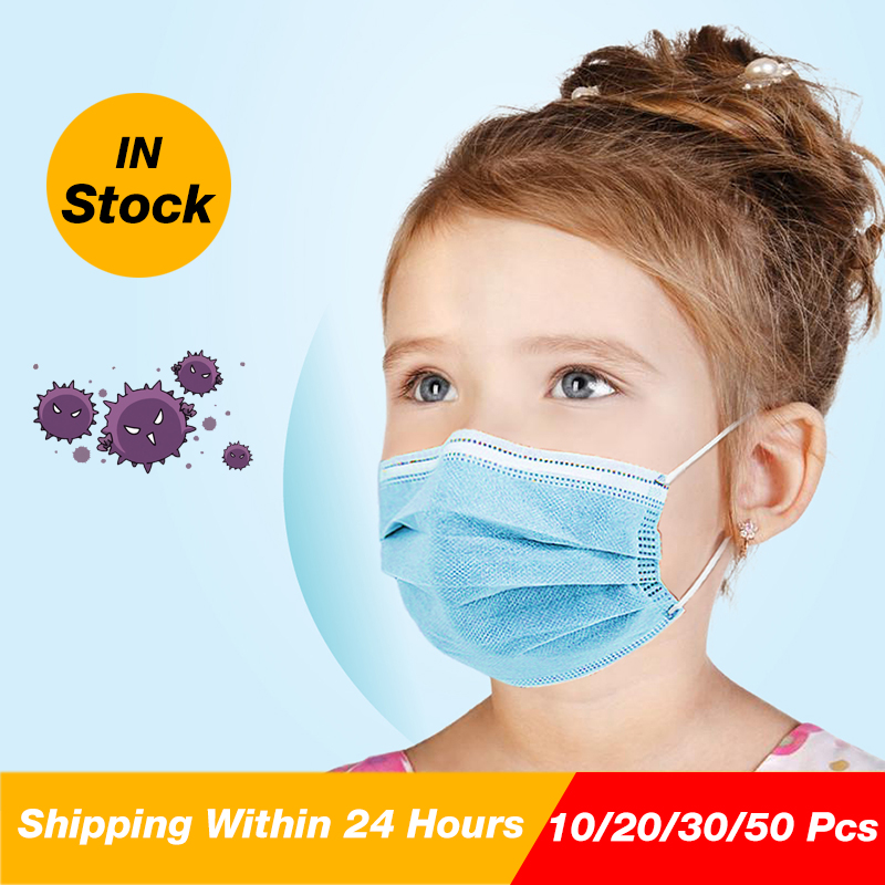 Hot 100Pcs 3 Layer Children Mask Disposable Elastic Mouth Soft Protect Breathable Child Blue Soft Kids Face Mask Free Shipping