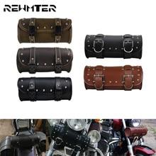 Universal Motorcycle Front Fork Tool Bag Handlebar Saddlebag Roll Barrel Racing Tail Storage PU Leather Bags For Harley XL Dyna