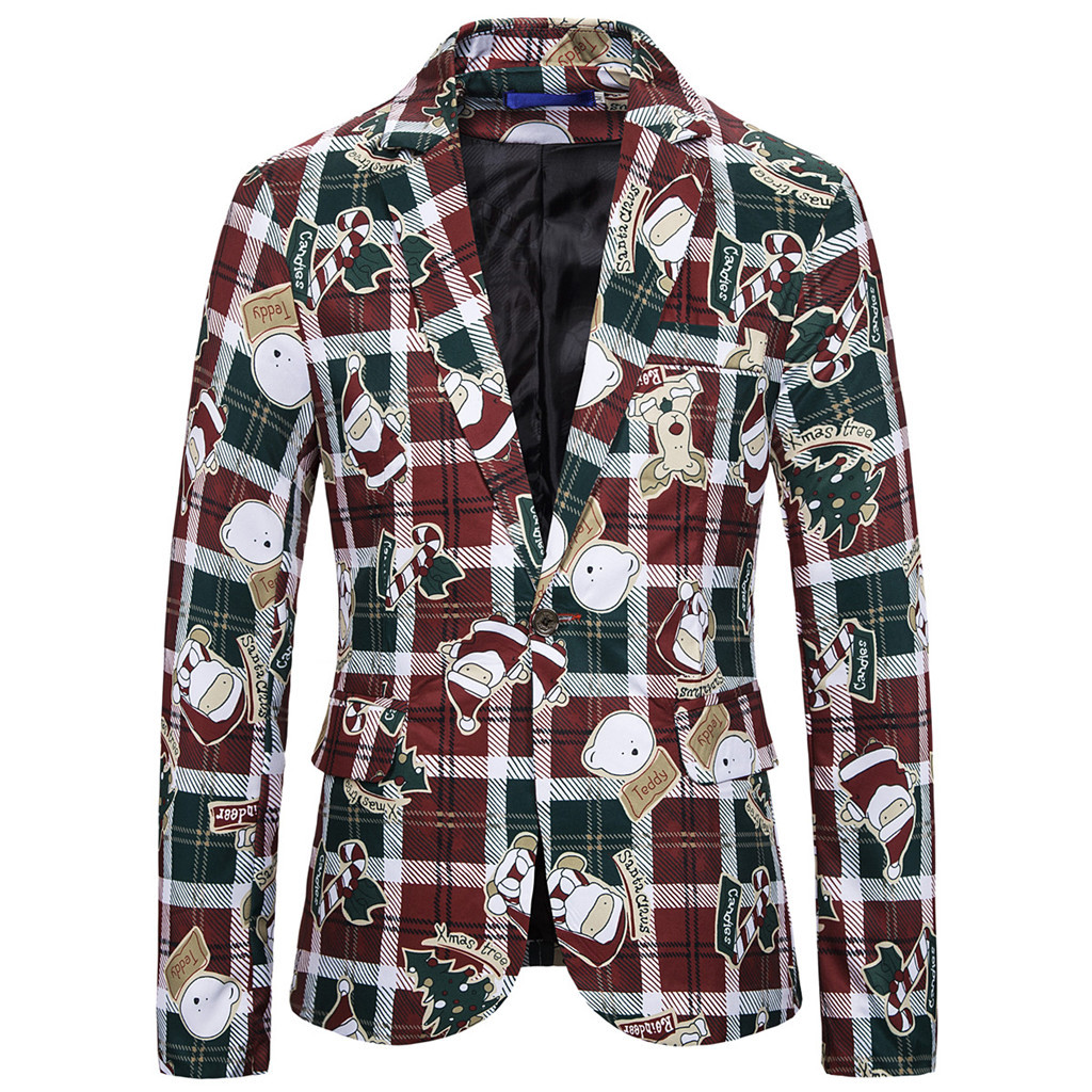 SAGACE Fashionable Men's Autumn And Winter Long-sleeved Christmas Blazer Print Santa Claus Single Buckle Soft And Comfortable