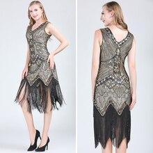 נשים 1920s בציר גטסבי גדולה כפול V צוואר שרוולים חרוזים נצנצים שמלת ציצית אמנות דקו Flapper שמלה למסיבה