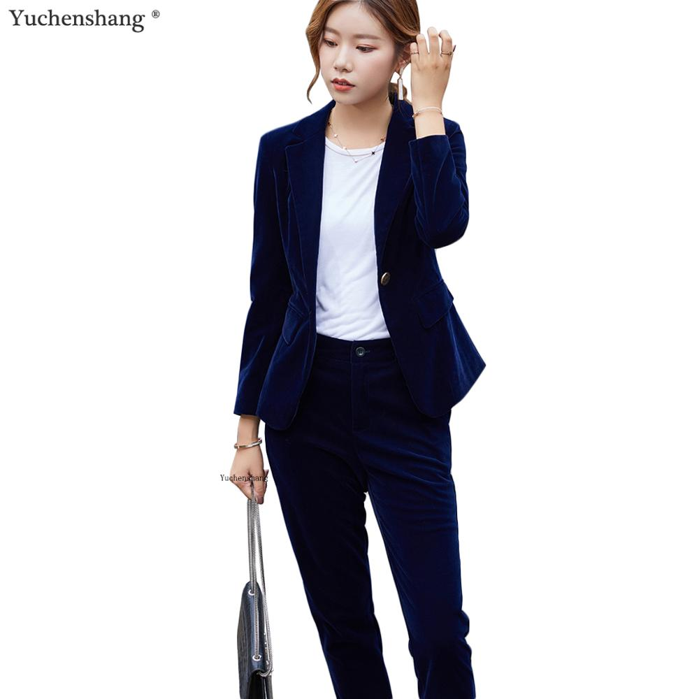 High Quality Women Velvet Pants Suits Blazer Soft Warm Fabric Long Sleeve Blue Wine Black Blazer And Pant For Office Ladies Wear
