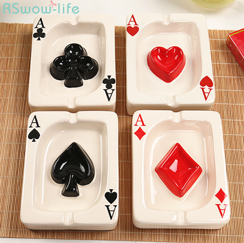 European Style Poker Creative Red Heart Square White Porcelain Portable Ashtray Cigar Cigarette Ash Tray Home Gadgets