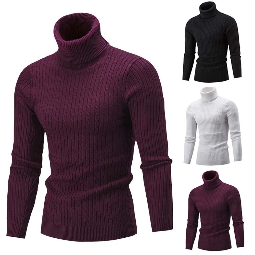 Winter Autumn Slim Men Sweater Warm Knit High Neck Pullover Slim Jumper Pure Color Turtleneck Men'S Blouse Sweater Top