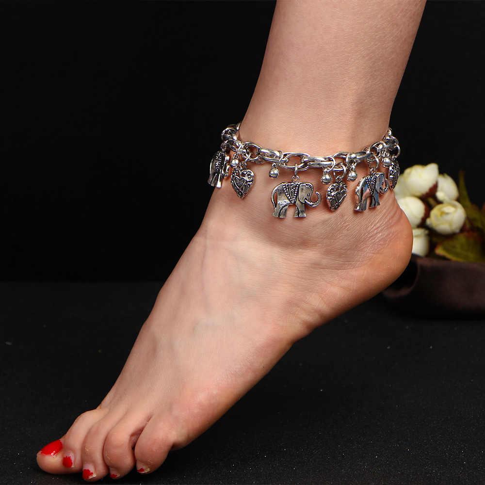 TANGDOGET Vintage Elephant Anklets สำหรับผู้หญิงรูปหัวใจข้อเท้าขา Handmade Bohemian เครื่องประดับขายส่ง BJ134