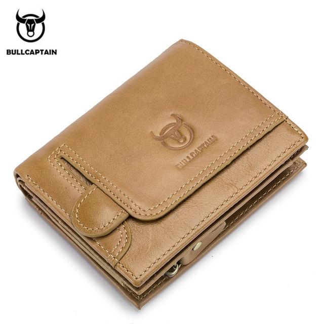 BULLCAPTAIN Men Wallet Genuine Leather Mens Purse Design male Wallets With Zipper Coin Pocket Card Holder Luxury Wallet