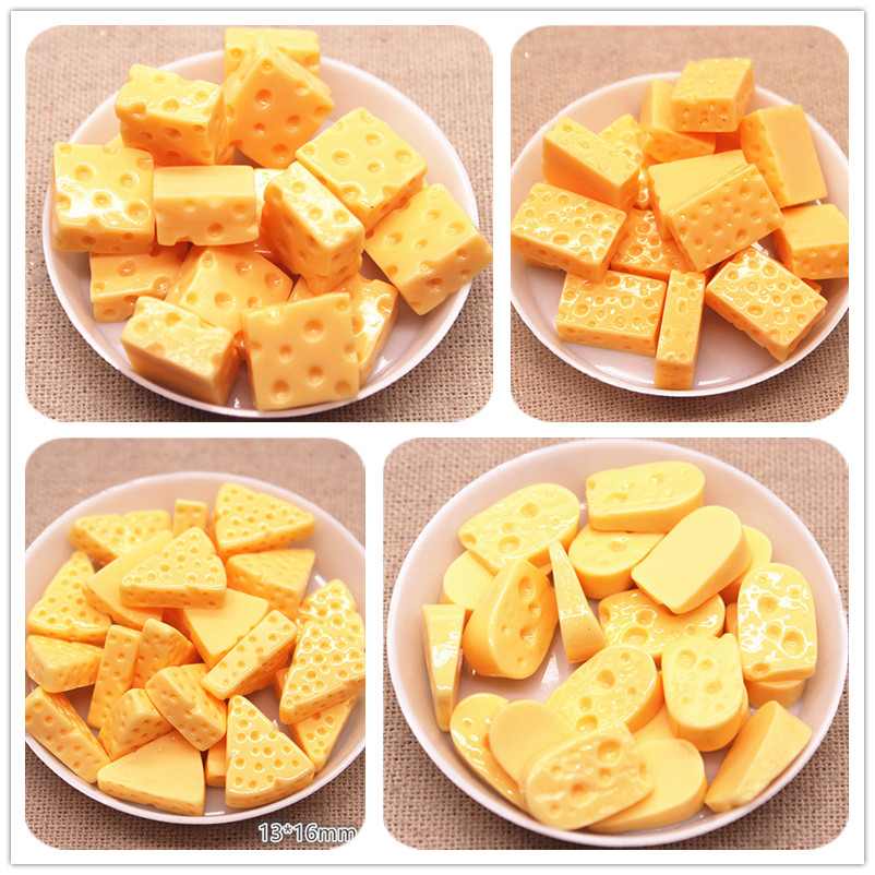 20pcs Cute 3D Simulation Cheese Resin Miniature Food Art Supply DIY Decorative Craft Scrapbooking,11*17mm