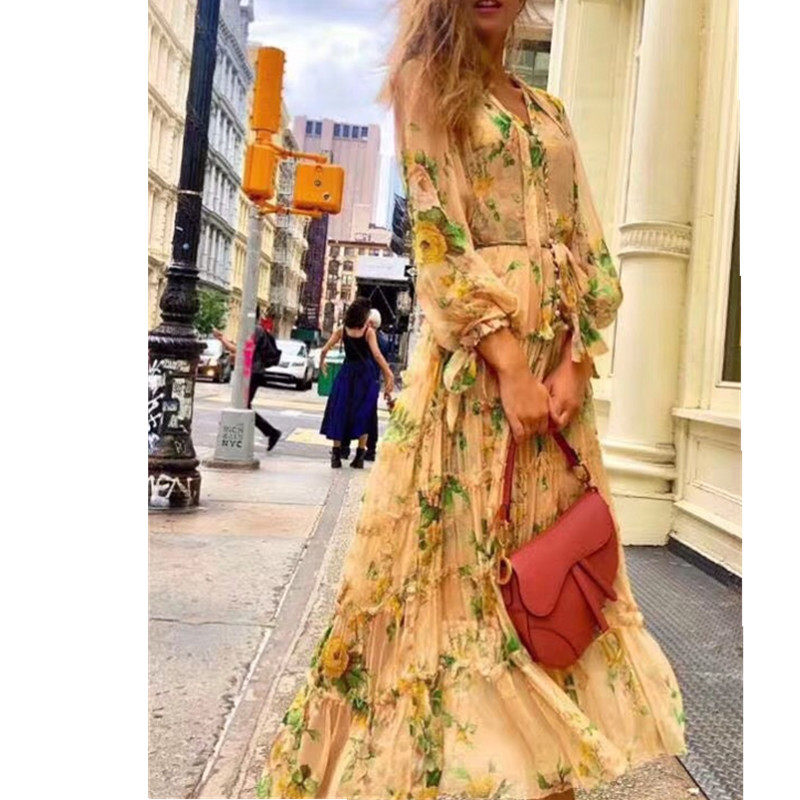 SMTHMA automne et hiver volants femmes robe Sexy col en v unique imprimé flore plissée en mousseline de soie longue robe - 2