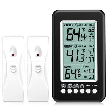 ORIA termometr do lodówki 2 czujniki bezprzewodowe kryty termometr zewnętrzny cyfrowy termometr do zamrażarki alarm dźwiękowy tanie i dobre opinie Gospodarstw domowych termometry Z tworzywa sztucznego Lodówka termometry WA43 Temperatura Wilgotność Metrów