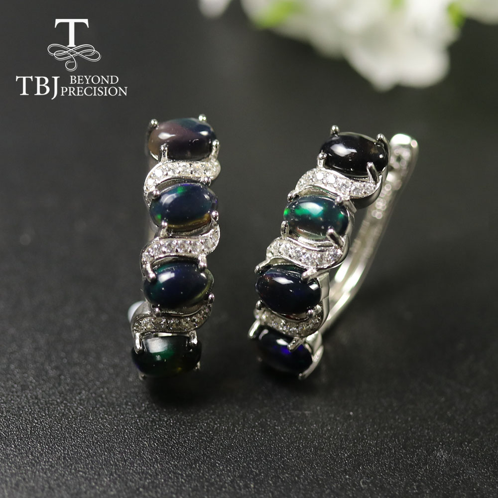 2020 Ethiopia Black Opal Clasp  Earring Natural Gemstone Earring 925 Sterling Silver Fine  Jewelry For Women Wife Nice Gift Tbj