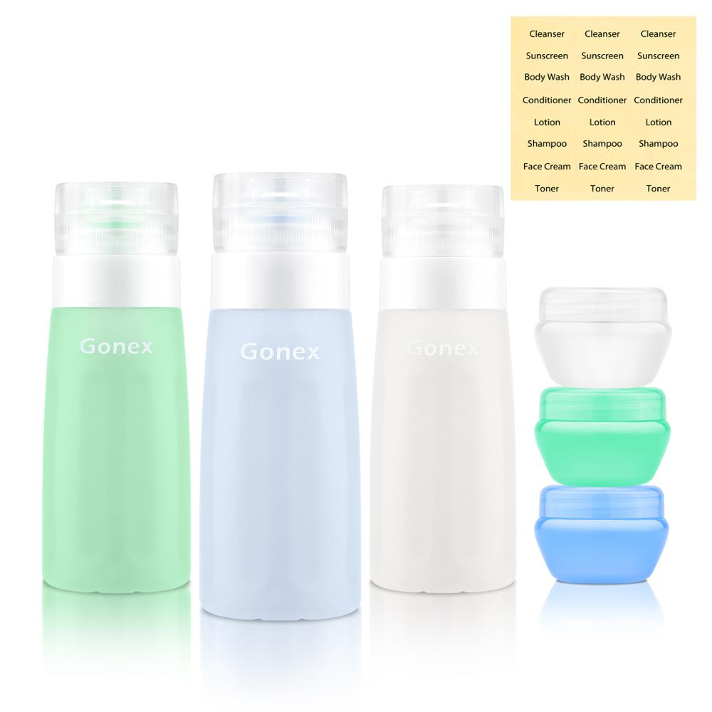 Gonex ensemble de bouteilles de voyage 2.9 oz articles de toilette de voyage Tube étanche accessoires de voyage 3 bouteilles en Silicone 3 boîtes adaptées à la Trave