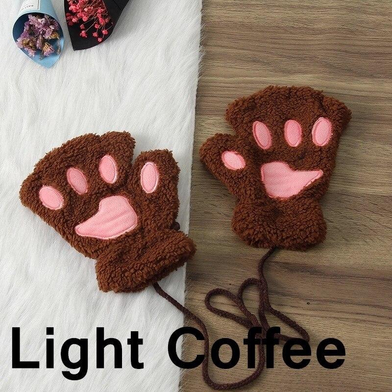 Зимние теплые перчатки женские Красивая кошачья лапа коготь плюшевые варежки короткие перчатки женские зимние перчатки без пальцев - Цвет: 9